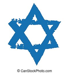 Judaic symbol of Magen David or David Star - Grunge vector...