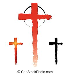 Christianity cross symbols - Set of gand drawn grunge cross...