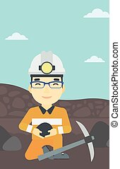 Miner holding coal in hands vector illustration. - An asian...