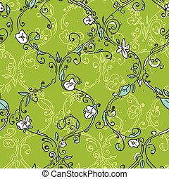 Hand drawn trellis floral seamless pattern