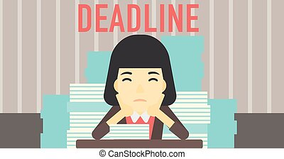 Business woman having problem with deadline - An asian...