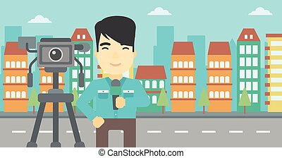 TV reporter with microphone and camera - An asian reporter...