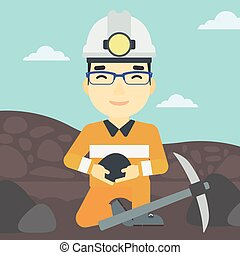 Miner holding coal in hands vector illustration - An asian...