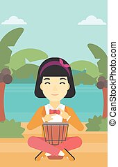 Woman playing ethnic drum vector illustration - An asian...