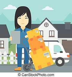 Delivery woman with cardboard boxes. - An asian delivery...