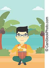 Man playing ethnic drum vector illustration - An asian man...