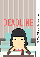 Business woman having problem with deadline. - An asian...