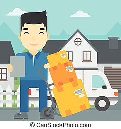 Delivery man with cardboard boxes. - An asian delivery man...