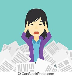 Stressed business woman having lots of work to do - An asian...