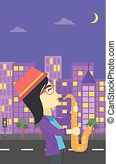 Woman playing saxophone vector illustration.
