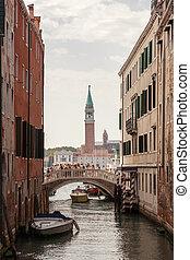 Venice canal scene in Italy