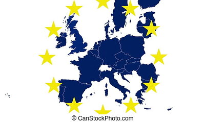 Brexit - EU blue map on white bg - Brexit - EU blue map on...
