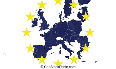 Brexit - EU textured map on white background, with 12...