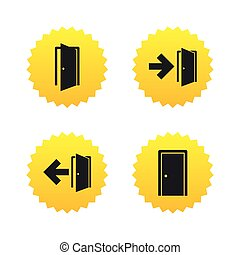 Doors signs Emergency exit with arrow symbol - Doors icons...