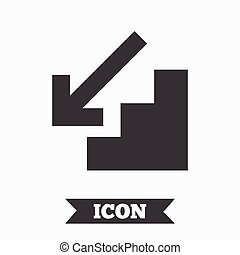 Downstairs icon. Down arrow sign. Graphic design element....