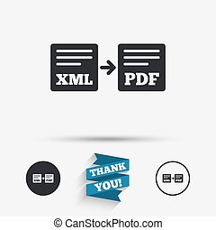Export XML to PDF icon File document symbol Flat icons...
