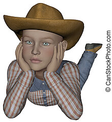 Young cowpoke - 3D rendered young cowpoke on white...