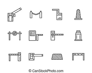 Barriers black line vector icons set - Steel and plastic...