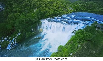 Waterfall Strbacki buk aerial shot - Copter aerial view of...