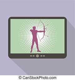 Watch sports on tablet Silhouette of man practicing with a...