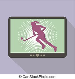 Watch sports on tablet. Silhouette of a Girl Hockey Player...