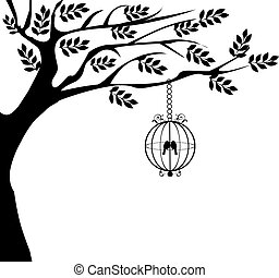 bird cage - vector tree with vintage bird cage