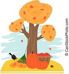 Autumn Clip art - Tree in autumn, rake, pumpkins, and bucket...