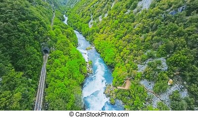 Waterfall Strbacki buk aerial view - Copter aerial view of...