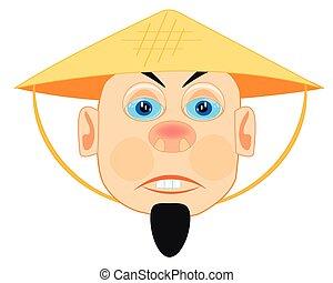 Vietnamese in straw hat - Man Vietnamese in straw hat on...