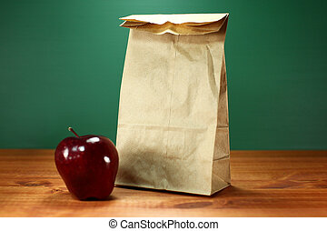 A Back to School Lunch Sack and Apple - Blank Back to School...