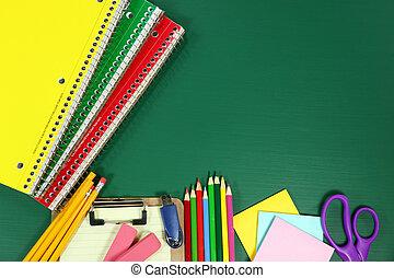 School Supplies on Blank Chalkboard - Back to School...