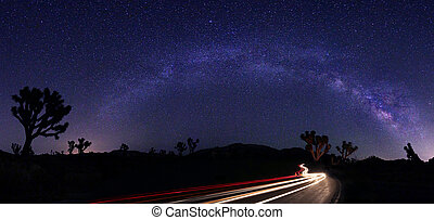 Light Painted Landscape of Milky Way Stars Panorama -...