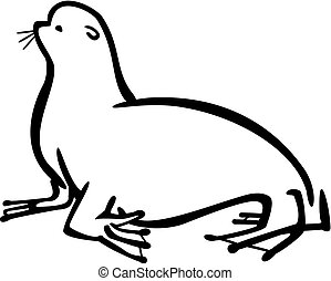 Sea Lion - Line drawing of a sea lion sitting poised.
