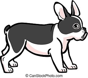 French Bulldog - illustration of a cute black and white...