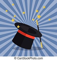 Magician Hat with Magician Wand Vector illustration