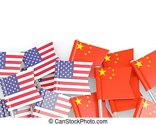Flags of USA and China isolated on white - Flags of USA and...