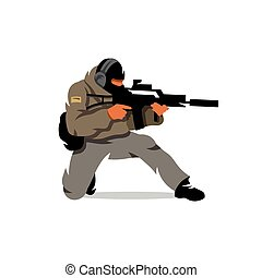 Vector Tactical shooting warrior Cartoon Illustration - The...