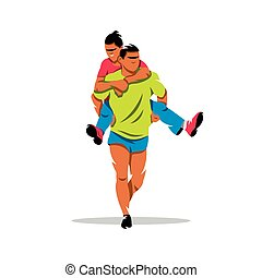 Vector Finnish jogging with their wives Cartoon Illustration...