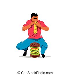Vector Athlete on fast food eating Cartoon Illustration -...