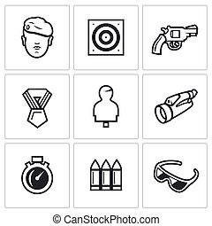 Vector Set of Shooting Range Icons. Soldier, Shoot, Weapon, Award, Mannequin, Observation, Speed, Arsenal, Safety.