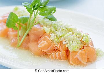 Salmon Poke - Salmon poke topped with a green onion sauce