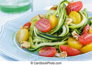 Zucchini Noodles - Zucchini noodles with tomatoes and...