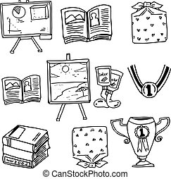 Doodle school education book on white backgrounds
