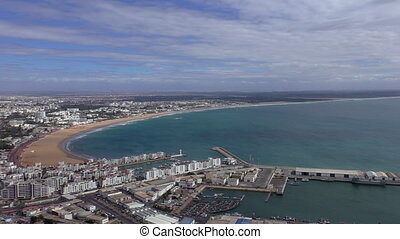 Agadir city Atlantic coast pan - Africa,Morocco, Agadir city...