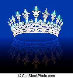 Illustration of a beautiful crown, tiara tiara with gems and...