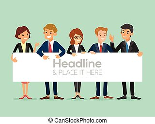 happy business team with a banner isolated vector cartoon...