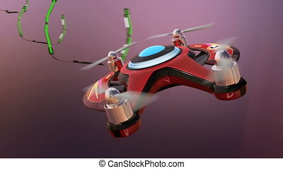 Racing drones chasing in the sky. 3D rendering animation.