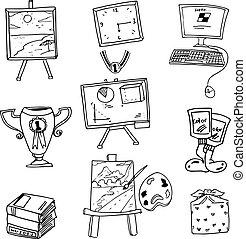 School object book computer doodles
