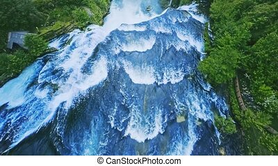 Waterfall aerial view - Copter aerial view of the Strbacki...