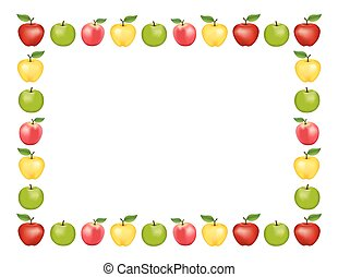 Apple Frame, White Background - Apple frame place mat with...